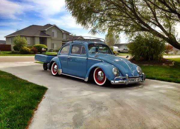 1960 VW Beetle with Single wheel trailer
