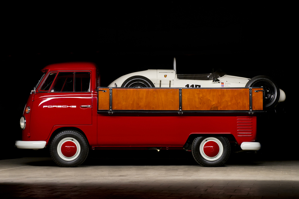 Porsche racing transporter by Volkswagen Type 2 pick-up